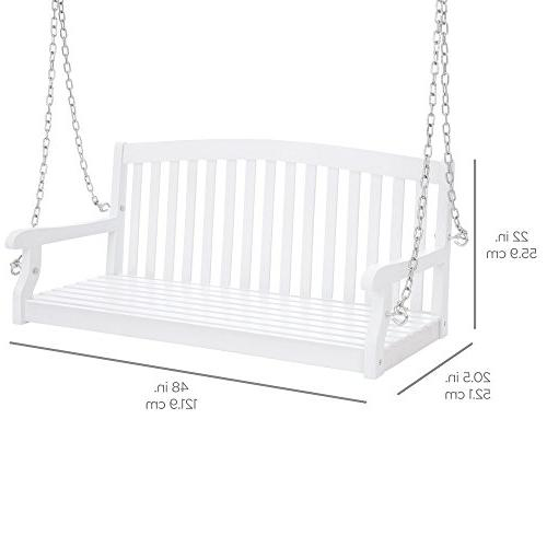 Best 48in Wooden Curved Back Hanging Porch Swing Bench Chains for Patio, Garden White