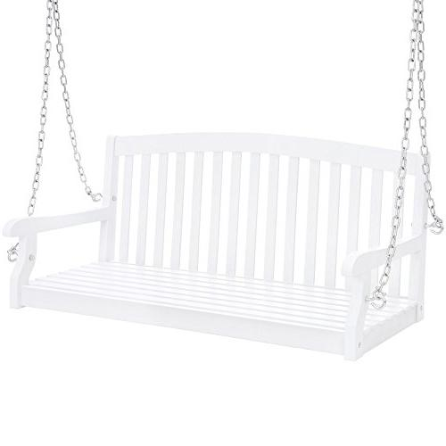 Wooden Curved Hanging Porch Swing Chains for Garden White