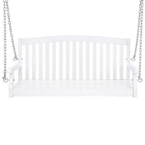 Best Wooden Curved Back Porch Chains Garden - White