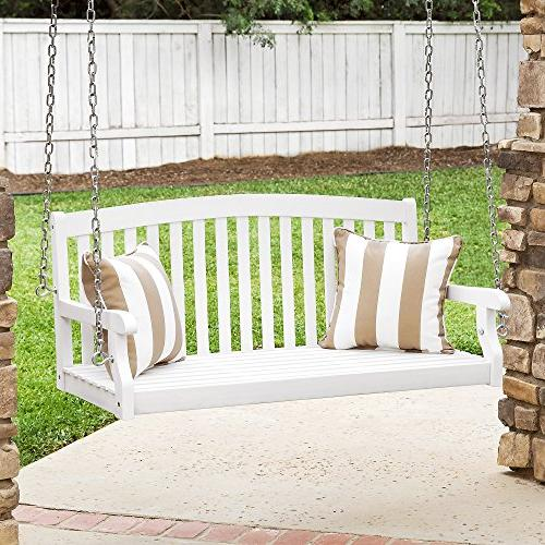 wooden curved back hanging porch