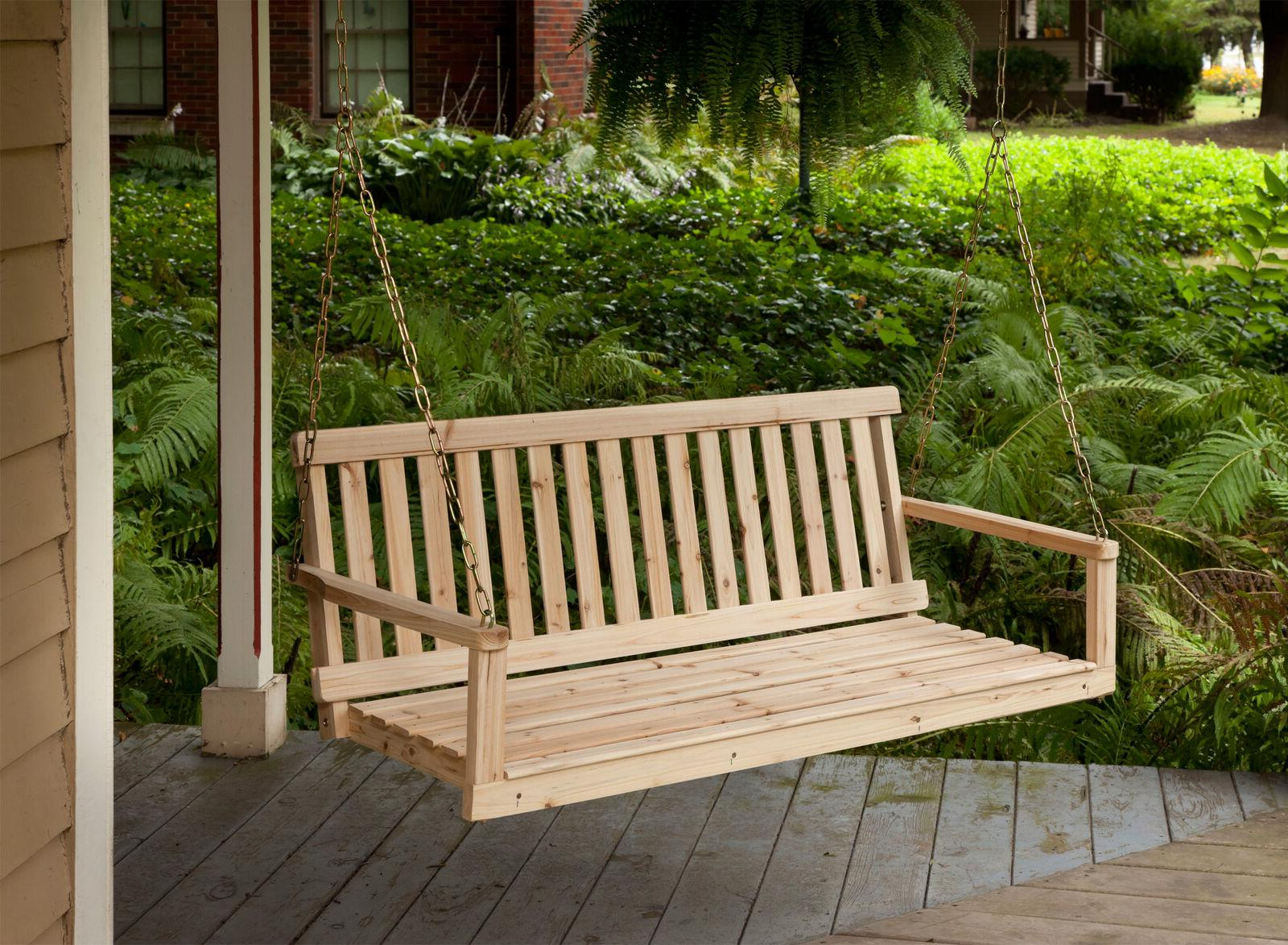 Wooden Porch Swing with Chains Wood Patio Outdoor Yard Garde