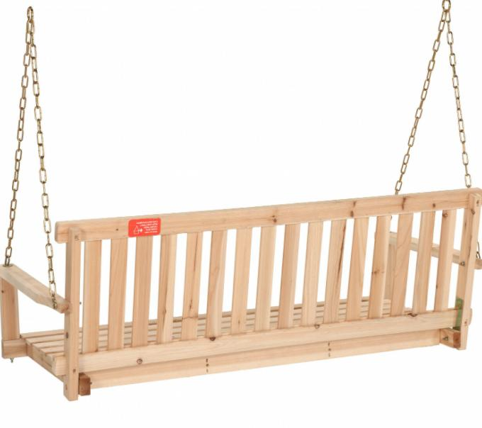 Wooden Natural Wood Outdoor Garden Bench W/Chains