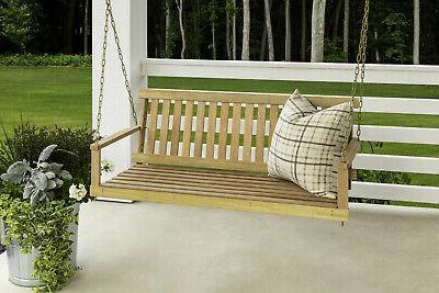 Wooden Swing Natural Wood Outdoor Bench Garden