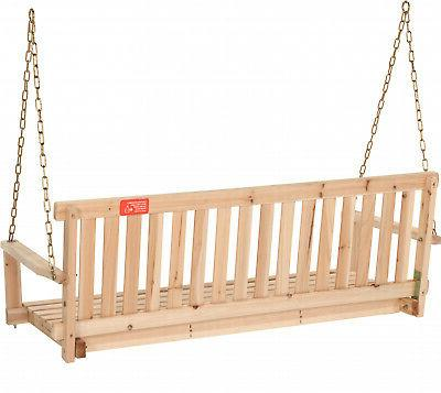 Wooden Porch 4ft Natural Wood Patio Outdoor Bench Hanging Garden
