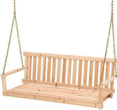 4 Swing w/ Chains Wood Porch Natural Finish Garden Yard Pati