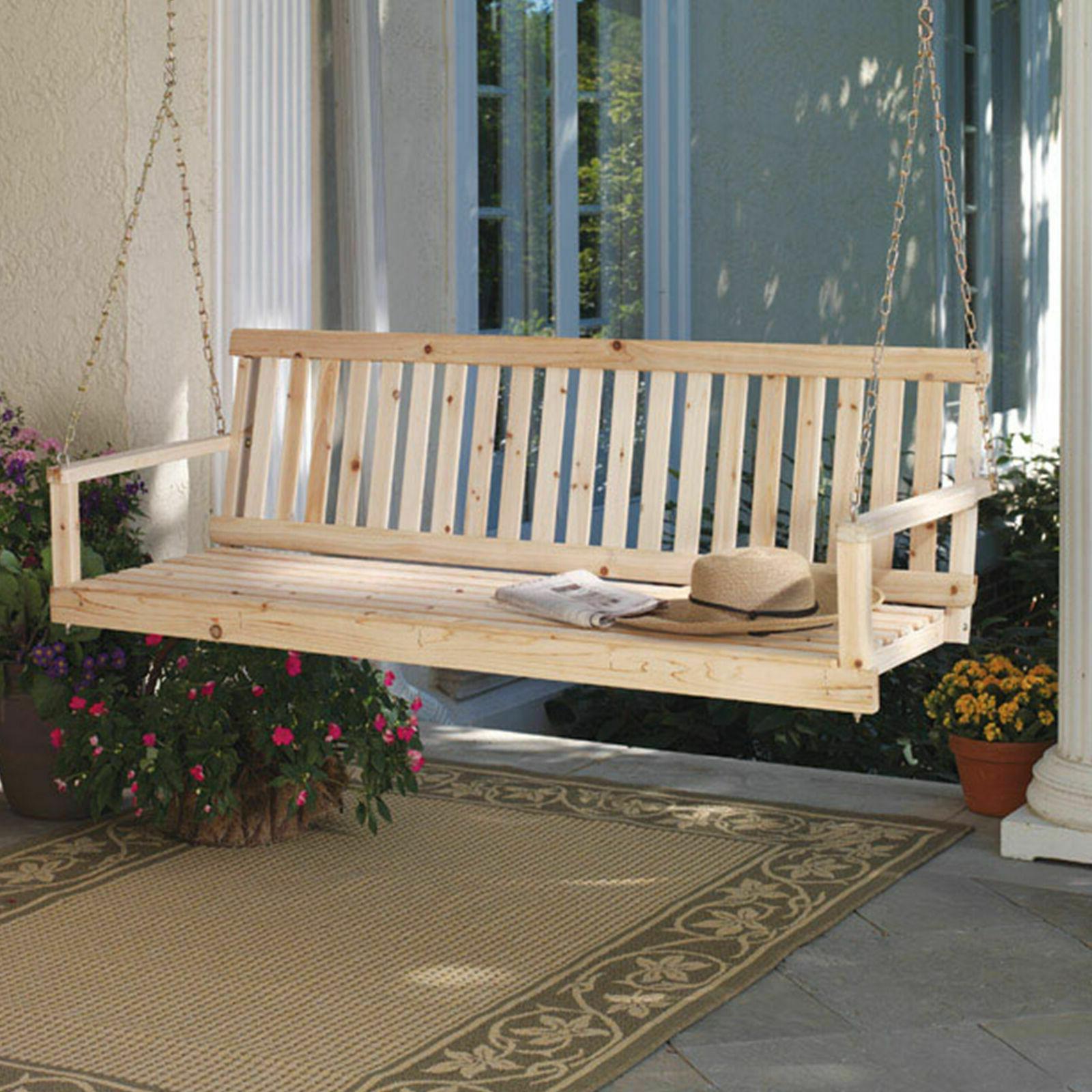 "Wooden Porch Swing Natural 60"" Width Patio Outdoor Garden Ya"