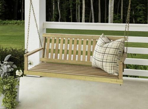 Wooden Porch Swing Wood Patio Yard Garden Hanging W/Chains