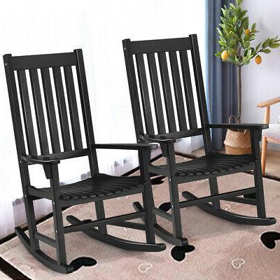 2 Pieces of Wood Rocking Chair Porch Rocker High Back Garden