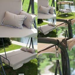 Lazy 3 Person All-Weather Swing Bed with Toss Pillows Classy