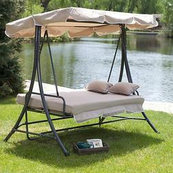 Coral Coast Lazy Caye 3 Person All-Weather Swing Bed with To