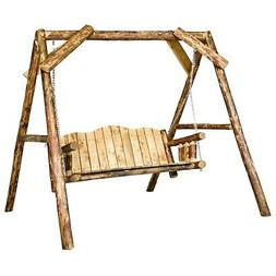 Log Porch Swing with A Frame Amish Made Deck Swings Lodge Ca