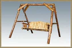 Log Outdoor Swing with A Frame Amish Porch Swings Lodge Cabi