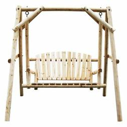 American Furniture Classics Log Porch Swing and Stand