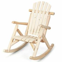 Log Rocking Chair Wood Single Porch Rocker Lounge Patio Deck