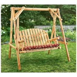 CASTLECREEK 4 Feet Log Swing 2 Seater