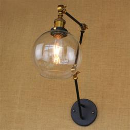 Long Swing Arm Wall Sconce Adjustable Lamp Clear Glass Globe