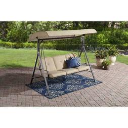 Mainstays Forest Hills 3-Seat Cushion Canopy Porch Swing, Be