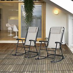 Outsunny Mesh Outdoor Patio Folding Rocking Chair Set Porch