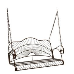 Metal Hanging Patio Porch Swing Bench Chairs Seat with Chain