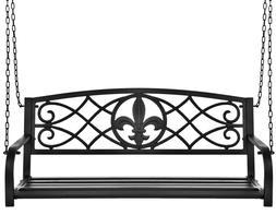 Metal Hanging Patio Porch Swing Fleur-De-Lis Weather-Resista