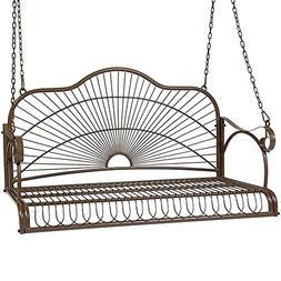 Yaheetech Metal Hanging Patio Porch Swing Bench Chairs Seat