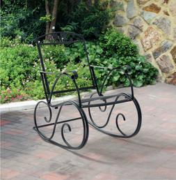 Metal Outdoor Rocking Chair Porch Patio Backyard Garden Deck