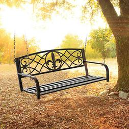 Metal Porch Swing Chair Hanging Bench Chair Fleur-De-Lis Des