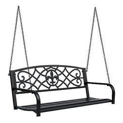 Outsunny Outdoor Steel Fleur-De-Lis Porch Swing Garden Hangi