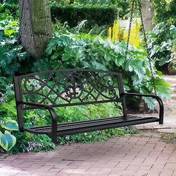 Outsunny Outdoor Steel Fleur-De-Lis Porch Swing Garden Hangi