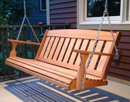 Mission Amish Porch Swing 4 ft Heavy Duty, Cedar or Oak, FRE