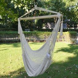 New Hanging Swing Cotton Rope Hammock Chair Patio Porch Gard