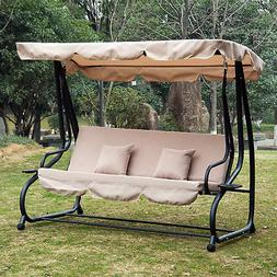 Outdoor 3-Person Patio Porch Swing Hammock Bench Canopy Love