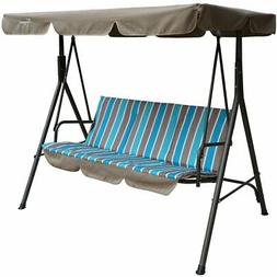 Outdoor 3 Person Porch Swing Metal With Stand Canopy Cushion