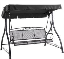 Outdoor 3-Person Swing Set Metal Bench Canopy Patio Porch Lo