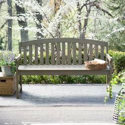 Outdoor 5 ft. Wood Garden Curved Acacia Wood Bench Porch Pat