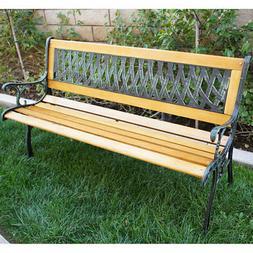 "Outdoor 50"" Patio Porch Deck Hardwood Cast Iron Garden Bench"