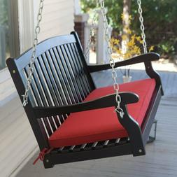 Outdoor All-Weather Black Curved Back Porch Swing