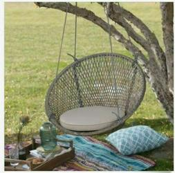 Outdoor Chair Hanging Round Swing W Cushion Resin Wicker  Pa