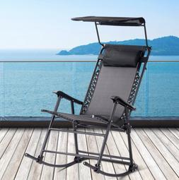 Outdoor Folding Rocking Chair with Canopy Backyard Heavy Dut