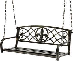 Outdoor Furniture Metal Fleur-De-Lis Hanging Patio Porch Swi