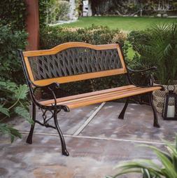 Outdoor Garden Bench Metal Wooden Porch Patio Outside Backya