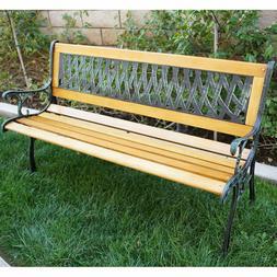 Belleze Outdoor Garden Bench Path Porch Patio Seat Cast Iron