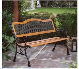 Outdoor Garden Bench Wood Porch Park Backyard Curved Seat Lo