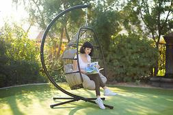 Outdoor Hanging Chair Wicker Resin Egg Porch Swing Lounger C