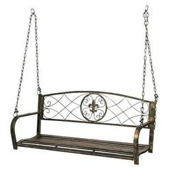 outdoor hanging hammock swing bench metal fleur