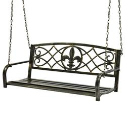 Outdoor Hanging Hammock Swing Bench Metal Fleur-De-Lis Patio