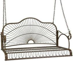 outdoor hanging iron porch swing chair brown
