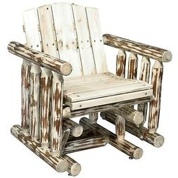 Outdoor Log Glider Chairs Rustic Porch Furniture  Single Sea