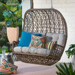 Hanging Wicker Loveseat Porch Swing With Cushion Bench Chair