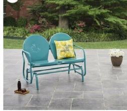 Outdoor Metal Glider Blue Bench Retro Porch Yard Patio Doubl